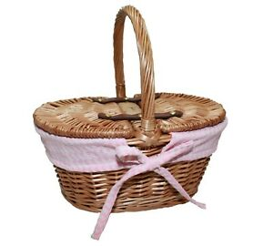 Child Small Oval Wicker Shopping Picnic Basket Sewing Hamper Pink Gingham