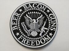 "1 pc Beer Bacon Gun design biker Emb patch Dia 3-3/4"" Sew/iron-on"