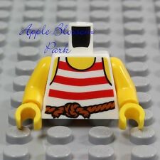 NEW Lego Girl/Boy MINIFIG TORSO -Red White Striped Shirt Tank Top -Pirate Stripe