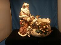 Fitz And Floyd Snowy Woods Santa Candy Dish IN DISTRESS NEEDS HELP