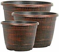 Copper Wooden Barrel Plant Pot Outdoor Garden Flower Tree Round Plastic Planter