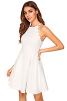 ROMWE Womens Scallop Top Sleeveless A-line Skater Dress Size S - White