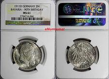 German States BAVARIA-90TH BIRTHDAY 1911 D 2 Mark NGC MS61 Mint Luster KM# 997