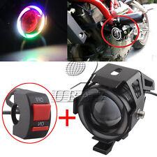 U7 LED Motorcycle Headlight Driving Demon Angel Eye Fog Spot Light Lamp + Switch
