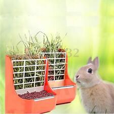 2 in 1 Rabbit Bowl Grass Shelf Orange Plastic Pet Rabbit Grass Hay Feeder Bowl