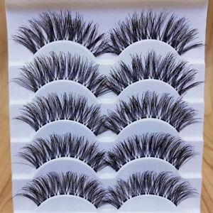 5 Pairs Handmade Natural Thick Long Cross False Eyelashes Makeup Fake Eye Lashes