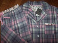 NWT Company Ellen Tracy Gray/Pink Plaid/Floral LIGHTWEIGHT FLANNEL Pajama Set M