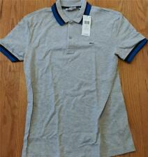 Mens Authentic Lacoste Multi Striped Collar Polo Shirt Gray/Navy 8 3XL $110