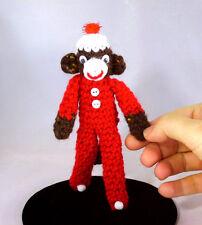 Amigurumi Mini Longjohn Pocket Sock Monkey Handmade Crochet Stuffed Animal Plush