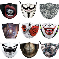 Adult ,men's,womens Gothic Skull washable face Covering ,mask, Joker,Scary Teeth