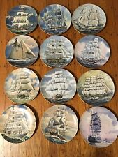Danbury Mint Set of 12 Plates- Great American Sailing Ships -w/Coa