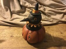 Crow in a Jack-a-Bowl by Johanna Parker Halloween collectible decoration Signed