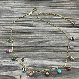 Vintage Jewelry Signed Joan Rivers Gold Tone Necklace Enamel Charm