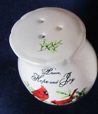 Shaker, Small Spice PEACE HOPE JOY White Ceramic Red Cardinals Holly Mistletoe