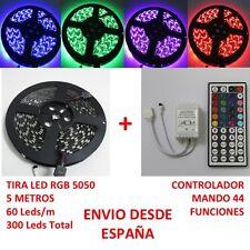 Tira de Led RGB 5050 5m IP65 + Controlador Mando 44 Funciones Waterproof