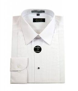 Mens Lay Down White Tuxedo Shirt Modern Fit Wrinkle-Free Cotton Blend Amanti