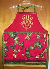 NEW HANDMADE APRON - CHRISTMAS HOLIDAY POINSETTIAS GOLD SCROLL KITCHEN COTTON