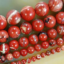 Natural Red River Jasper Round Beads 15.5