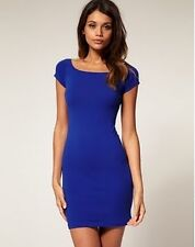Royal Blue Boat-neck Cap-Sleeve Bodycon Dress