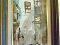 """31"""" TALL Narrow M-C-M Watercolor PAINTING Antigua STREET SCENE Framed SIGNED"""