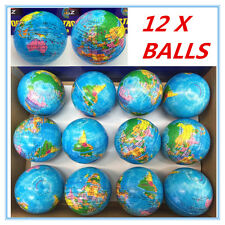 12 WORLD GLOBE STRESS BALLS Hand Relief Squeeze Toy Reliever Anti-stress Soft ww