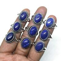 Wholesale Lot !! 50 PCs Natural Lapis Lazuli Gemstone Silver Plated Rings