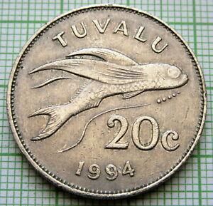 TUVALU ELIZABETH II 1994 20 CENTS, FLYING FISH SCARCE DATE