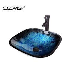 Bathroom Square Tempered Glass Vessel Sink Bowl Basin Faucet Combo Lavatory Blue