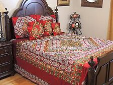 Maroon Embroidered Duvet India Bedding - Luxury Decorative Sari Ensemble King