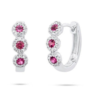 0.39 TCW 14K White Gold Natural Pink Tourmaline Diamond Huggie Hoop Earrings