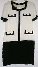 ESCADA Silk Dress Black White Size 12 Ruffles Pleads Vintage 1980s
