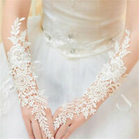 New White/Ivory Lace Long Fingerless Wedding Accessory Bridal Party Gloves $_$