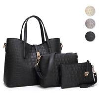 3pcs Women Handbag Leather Tote Shoulder Bag Purse Crossbody Satchel Purse