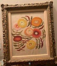 Vintage Embroidered Handmade Flowers Framed Complete