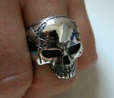 Large Solid Sterling Silver Anatomical Skull Ring Keith Richards Style Handmade