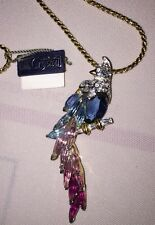 Swarovski Prestige in Crystal Jewelry Vtg Parrot Pendant on Necklace Blue