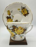 Tea Cup And Saucer Bone China Rosina Made In England Yellow Roses
