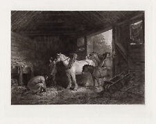 "Remarkable 1800s George MORLAND Antique Etching ""Inside of a Stable"" FRAMED COA"