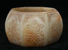 """5.4""""Old China Natural White Jade Carved 8 Auspicious Symbol Pot Jar Crock Censer"""