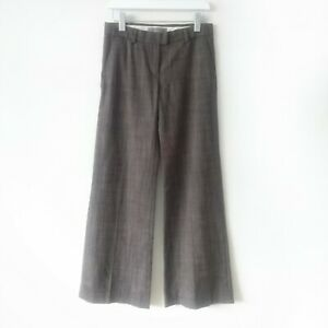 Sportmax Womens Vintage Brown Wool Blend Straight Wide Leg Trousers size 8