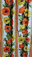 Vintage Mid Century Drapes Pair Orange Yellow Green Floral Poppies Bright Stripe