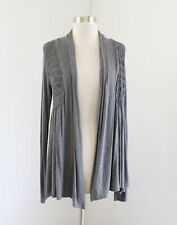 Bailey 44 Anthropologie Gray Smocked Asphodel Open Cardigan Sweater Size S