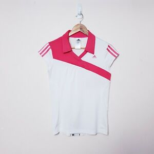 Adidas Womens Size 12 White Pink Short sleeve Tennis Polo Shirt