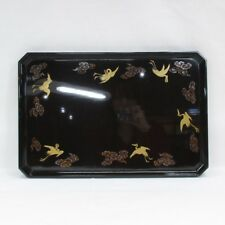 D528: Japanese OLD high-class lacquer ware tray with popular TOGIDASHI-MAKIE