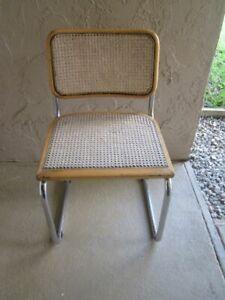 Mid Century Modern Marcel Breuer Style Cane Cesca Chrome Cantilever Chair