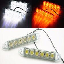 2x 6LED 12/24V White Car Daytime Running Light DRL Amber Turn Signal Lamp lights