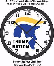 TRUMP NATION LOGO WALL CLOCK-FREE USA SHIP
