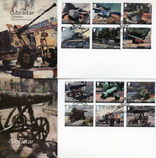 Gibraltar 2018 FDC Cannons Howitzer Cannon 12v Set on 2 Covers Military Stamps