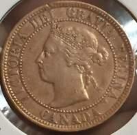 1901 Canada ONE 1 Cent  BRONZE ***/AU/UNC/*** VICTORIA U GRADE THE COIN