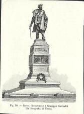 Stampa antica COMO monumento a Giuseppe Garibaldi Lago di Como 1896 Old Print